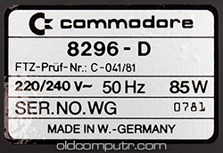 Commodore 8296-D - Serial number