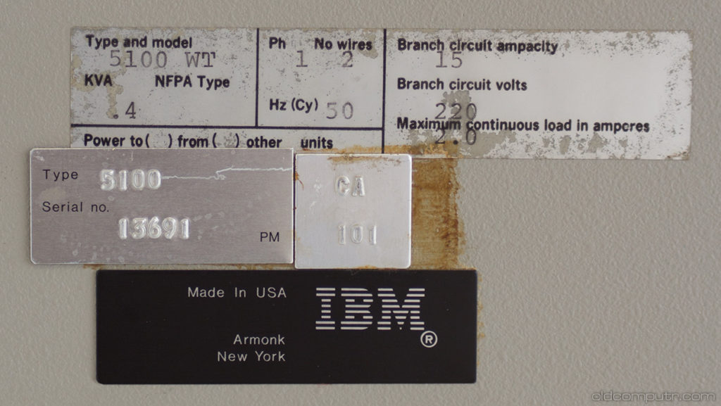 IBM 5100 serial number