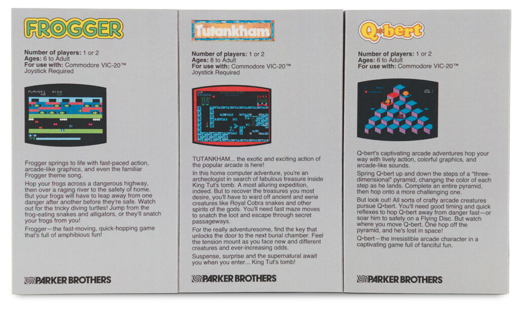 VIC 20 cartridge sleeves - Parker Brothers - back